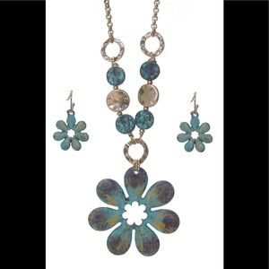 Jewelry - Rustic Flower Necklace and Earrings Set